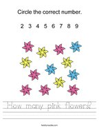 How many pink flowers Handwriting Sheet