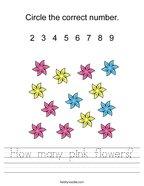 How many pink flowers Handwriting Sheet
