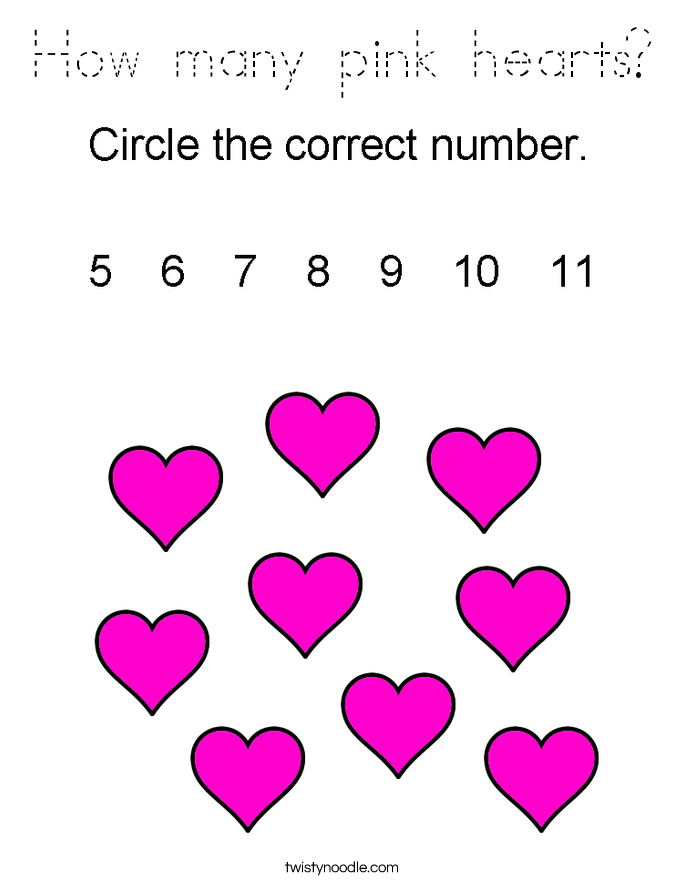 How many pink hearts? Coloring Page