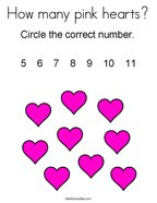How many pink hearts Coloring Page