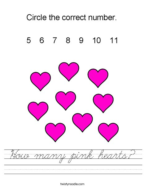 How many pink hearts? Worksheet