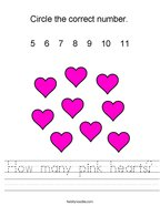 How many pink hearts Handwriting Sheet