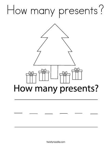 How many presents? Coloring Page