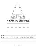How many presents Handwriting Sheet