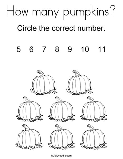 How many pumpkins? Coloring Page