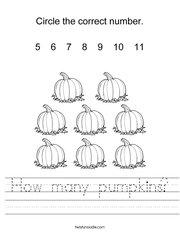 How many pumpkins? Worksheet