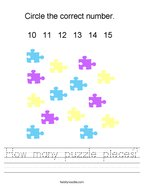How many puzzle pieces Handwriting Sheet
