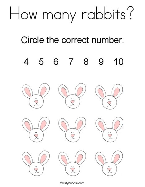 How many rabbits? Coloring Page