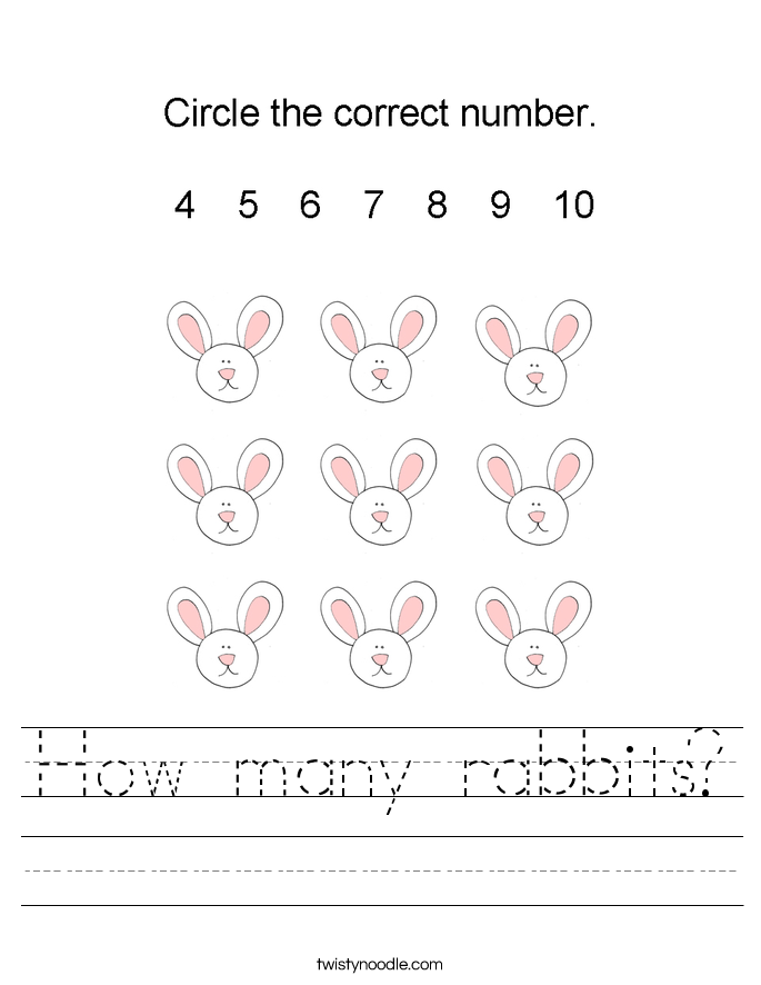How many rabbits? Worksheet