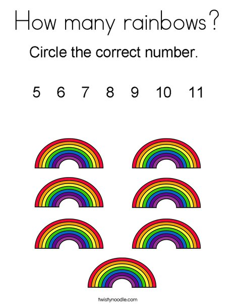 How many rainbows? Coloring Page