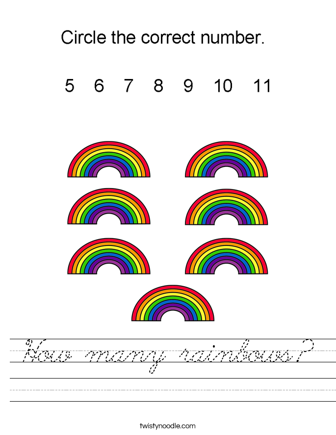 How many rainbows? Worksheet