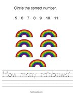 How many rainbows Handwriting Sheet