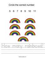 How many rainbows Handwriting Sheet