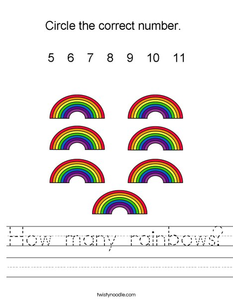 How many rainbows? Worksheet