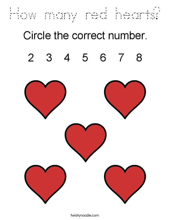 How many red hearts? Coloring Page