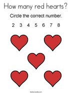 How many red hearts Coloring Page