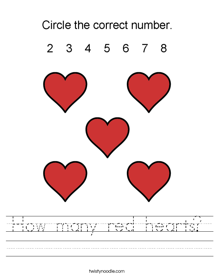 How many red hearts? Worksheet