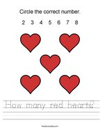 How many red hearts Handwriting Sheet
