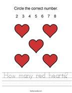 How many red hearts Handwriting Sheet