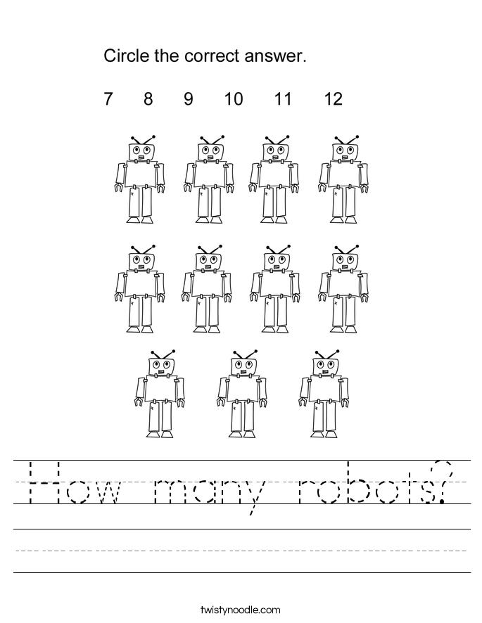 How many robots Worksheet - Twisty Noodle