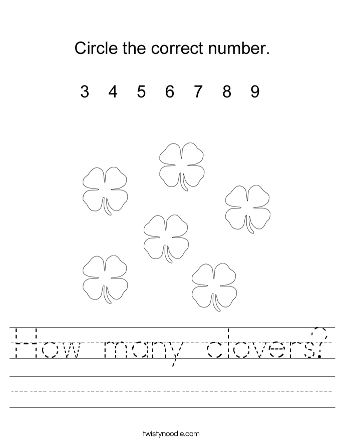 How many clovers? Worksheet