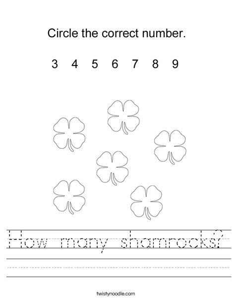 How many shamrocks? Worksheet