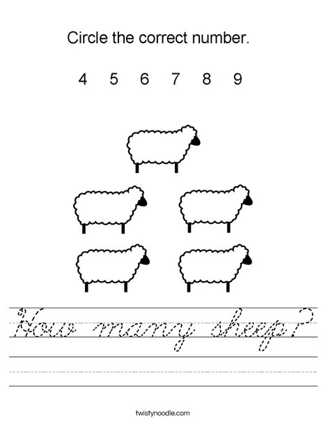 How many sheep? Worksheet
