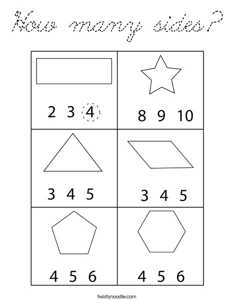 How many sides? Coloring Page