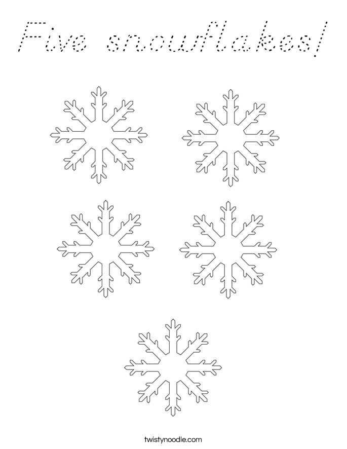 Five snowflakes! Coloring Page