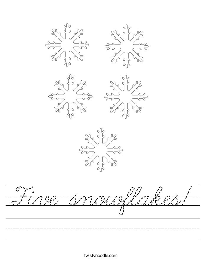 Five snowflakes! Worksheet