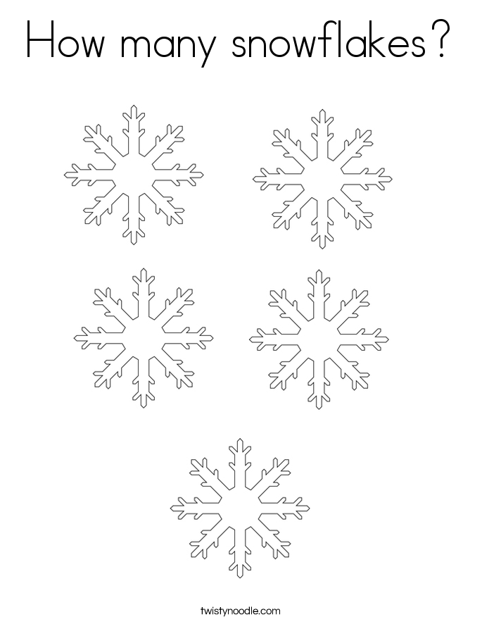 How many snowflakes Coloring Page - Twisty Noodle