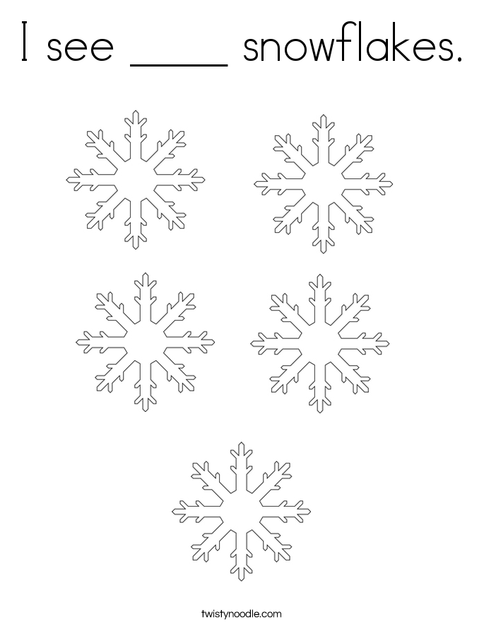 I see ____ snowflakes. Coloring Page