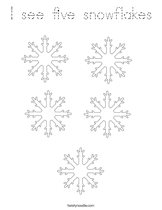 I see five snowflakes Coloring Page