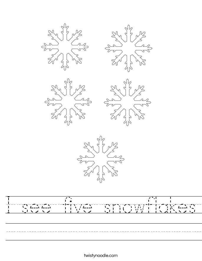 I see five snowflakes Worksheet