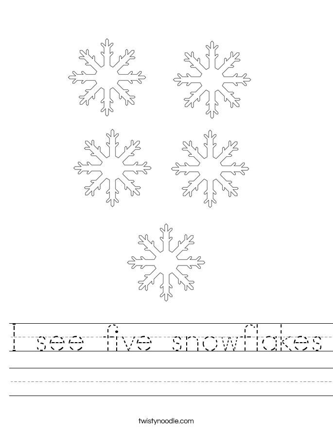 I see five snowflakes Worksheet