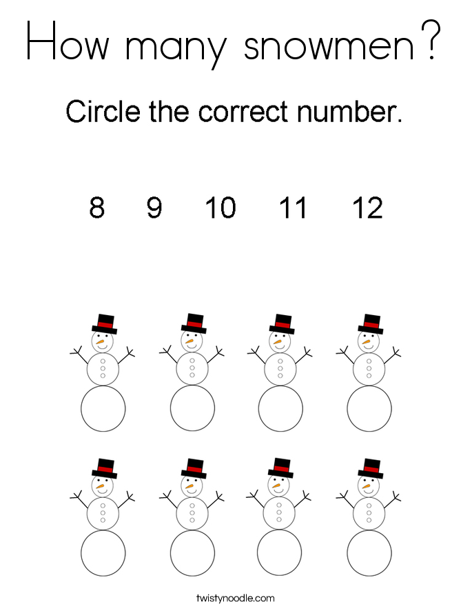 How many snowmen? Coloring Page