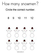 How many snowmen Coloring Page