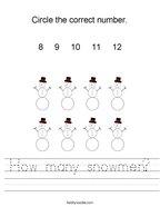 How many snowmen Handwriting Sheet