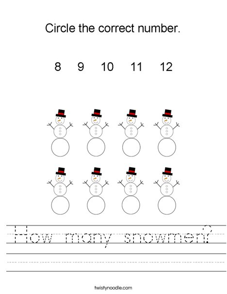 How many snowmen? Worksheet