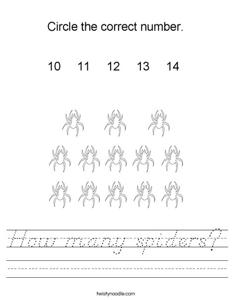 How many spiders? Worksheet