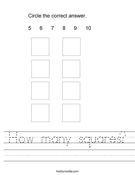 How many squares? Worksheet