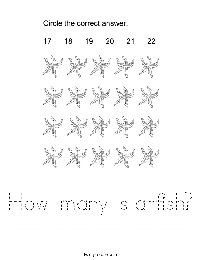 How many starfish? Worksheet