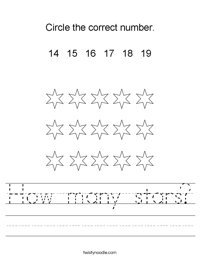 How many stars? Worksheet