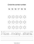 How many stars Handwriting Sheet