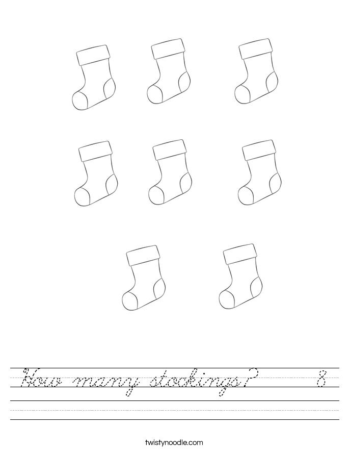 How many stockings?     8 Worksheet