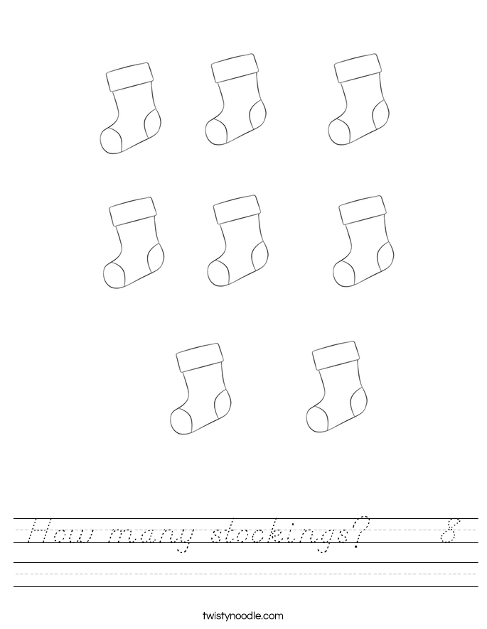 How many stockings?     8 Worksheet