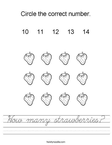 How many strawberries? Worksheet