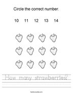 How many strawberries Handwriting Sheet