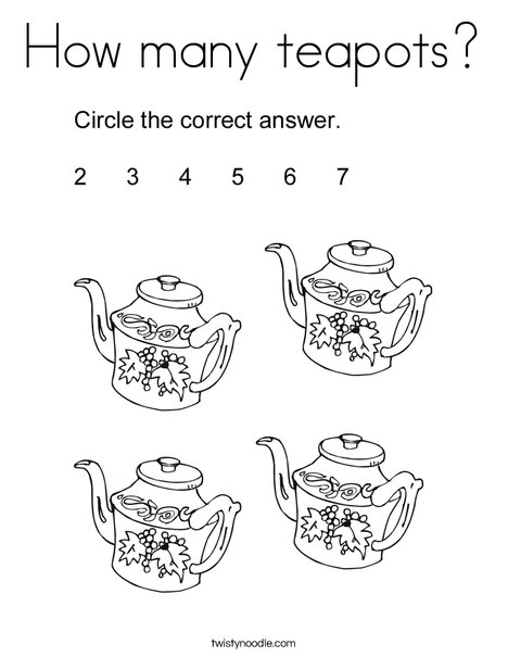 How many teapots? Coloring Page