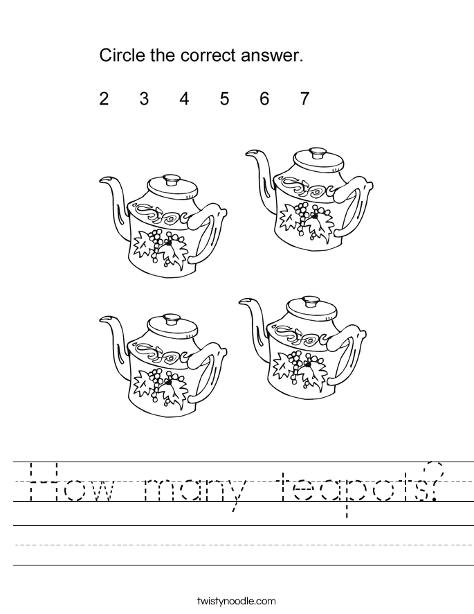 How many teapots? Worksheet